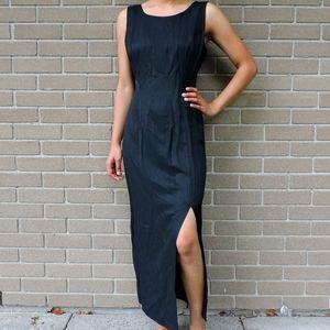S.L. Black round neck long cut dress size Medium